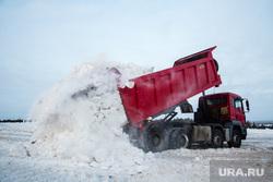 Полигон для складирования снега компании ЮВИС. Сургут, грузовики, вывоз снега, самосвалы