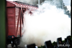 Этап специальных учений материально-технического обеспечения на станции Адуй. Свердловская область, дым, возгорание, железная дорога, вагон, поезд