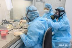 Исследование анализов на коронавирус в лаборатории ЕКДЦ. Екатеринбург, лаборатория, защитный костюм, специалист, исследования, проведение анализов, вирусолог, противочумный костюм