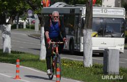 Город в период самоизоляции 27 мая 2020. Пермь, велодорожка, велосипедист