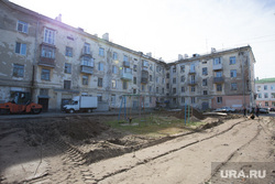 Строительные работы во дворе дома 37,  по ул Гоголя. Курган, жилой дом, двор дома, улица гоголя 37