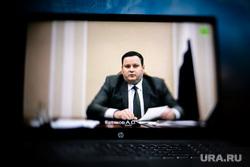 Онлайн-совещание Владимира Путина с губернаторами. Москва, котяков на экране