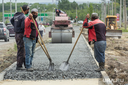 Клипарт. Магнитогорск, каток, дорожные рабочие, лопаты, ремонт дороги, отсыпка