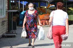 Городские рынки. Курган, торговля, покупатели, лето, рынок, медицинская маска, масочный режим, женжины