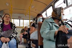 С 15 июня на территории Курганской области вводится обязательный масочный режим. Виды города. Курган, автобус, медицинская маска, пассажиры, масочный режим