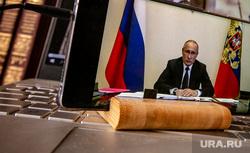 Онлайн-совещание Президента РФ Владимира Путина с главами субъектов Российской Федерации. Москва, путин на экране, печенеги и половцы