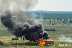 Антитеррористические учения «Мирная миссия - 2018». Челябинск, дым, вертолет, армия, оружие, вооружение, война, огонь, пожар