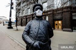 Арт-объекты, скульптуры в масках на Кировке. Челябинск, маски, эпидемия, городовой, скульптуры, кировка