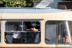 Виды Екатеринбурга, общественный транспорт, трамвай, маска на лицо