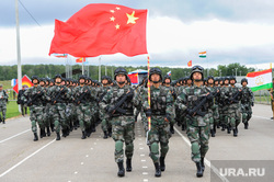 Торжественное открытие совместного военного антитеррористического командно-штабного учения вооруженных сил государств – членов ШОС «Мирная миссия – 2018». Челябинская область, Чебаркульский район, армия, военные, мирная миссия2018, парад, китайская армия