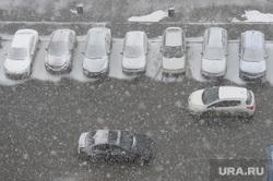 Снегопад в конце марта. Челябинск, снег, зима, погода, снегопад, автомобили, автопарковка