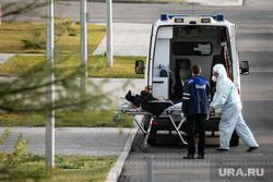 Приемный покой в 40 ГКБ в Коммунарке. Москва, каталка, защитный костюм, приемный покой, медики, врачи, скорая помощь, санитары, врач, больница, фельдшер, доктор, коронавирус, covid, ковид, противочумной костюм, лежачий больной, SARS-CoV-2