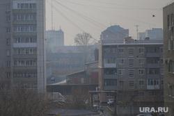 Дым в городе. Курган, дым, туман