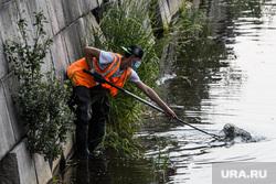 Екатеринбург во время пандемии коронавируса COVID-19, мигрант, набережная, гастарбайтер, уборка мусора, коммунальные службы, разнорабочий, работа на лето, очистка водоема