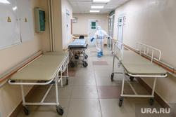 Дезинфекция красной зоны Госпиталя ветеранов войн. Екатеринбург, больничный коридор, приемное отдлеление, больница, каталка больничная