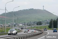 Виды Красноярска, крест, шоссе, трасса, дорога