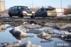 Галкинский мост. Курган, машины, лужи, слякоть, грязь в городе
