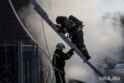 Пожар памятника архитектуры по ул. Семакова 8. Тюмень, мчс, пожар, пожарная лестница, пожарные