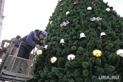 Снежный городок. Елка. Челябинск., игрушки, елка на площади, новый год