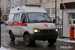 Машины скорой помощи в красной зоне городской больницы №2. Курган , скорая помощь, машина скорой помощи