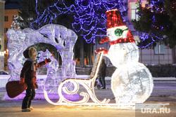 Иллюминация. Курган, площадь ленина, дети, гирлянда новогодняя, новый год, новогоднее оформление, иллюминация