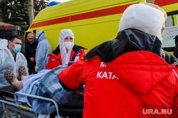 Последствия взрыва кислородной станции в госпитале на базе ГКБ№2. Челябинск, реанимобиль, медицина катастроф, пострадавший, врачи, скорая помощь, эвакуация больных, медики, доктор