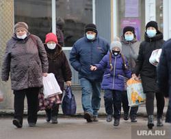 Виды города. Курган, масочный режим, люди в медицинских масках