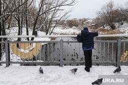 Благоустройство парков города в зимнее время. Курган, ребенок, снег, зима, мальчик, река битевка