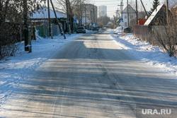 Окраины, дома, дороги. Тюмень, зима, дорога, частный сектор