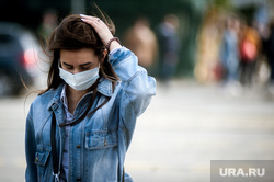 Виды города во время пандемии коронавируса. Екатеринбург, девушка, защитная маска, виды екатеринбурга, масочный режим