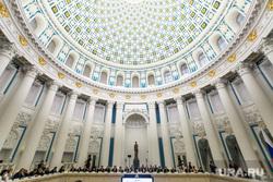 Встреча Владимира Путина с рабочей группой по внесению поправок в Конституцию РФ. Москва, кремль, сенатский дворец, купольный зал, екатерининский зал