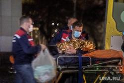 Прибытие борта вертолета с истощенной девочкой из Карпинска. Екатеринбург, носилки, скорая помощь, медики, фельдшеры, каталка больничная