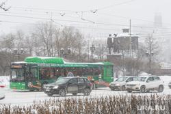 Виды Екатеринбурга, автобус, чемпионат мира по футболу, город екатеринбург, снежная погода
