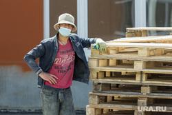 Клипарт. Магнитогорск, мигрант, поддоны, медицинская маска, стройка, стройплощадка
