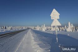 Каменный город, природная достопримечательность Прикамья. Пермь, снег, деревья, дорога