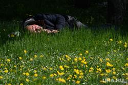 Пятьдесят четвертый день вынужденных выходных из-за ситуации с распространением коронавирусной инфекции CoVID-19. Екатеринбург, бомж, бездомный, тепло, лето, зеленый город, спит под деревом, теплая погода