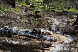 Место оползня после сентябрьского землетрясения 2018 года. Челябинская область, Катав-Ивановск, ручей, русло