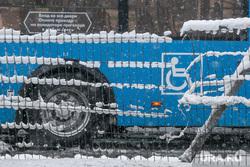 Снегопад в Москве. Москва, автобус, места для инвалидов