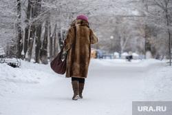 Виды города. Курган, снег, зима, женщина, гор сад, пенсинерка