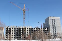 Строительство жилых  домов. Курган, кран, стройка