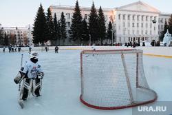 Открытие катка на площади им. Ленина. Курган, хоккеисты, дворовый хоккей, каток