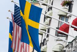 Виды Стокгольма. Швеция, флаг сша, флаг великобритании, флаг швеции