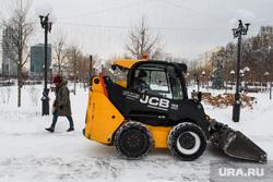 Виды Екатеринбурга, уборка снега, проспект ленина, сквер имени бабыкина