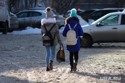 Площадь Ленина. Курган, зима, дети, ученики, школьники