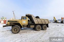 Строительство конгресс-холла на набережной реки Миасс к саммитам ШОС и БРИКС. Челябинск, грузовик, самосвал, краз