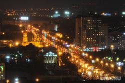 Улицы ночного Челябинска, улица кирова, ночь, органный зал родина, свято-троицкая церковь, дождь
