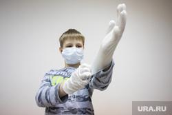 Клипарт. Сургут, перчатки, медицинская маска, ребенок в маске, коронавирус, сиз