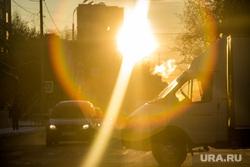 Морозные дни. Тюмень, машины, солнце, дорога, автомобили, солнце в глаза