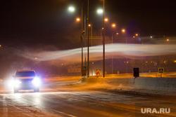 Клипарт. ХМАО, туман, вьюга, трасса, фонарь, метель, автомобильные фары, мороз