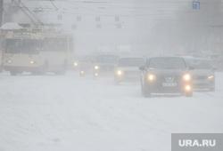 Снежный буран и непогода. Челябинск, холод, зима, буран, непогода, метель, шторм, ураган, климат, автомобили, фары, вьюга, мороз, автотранспорт